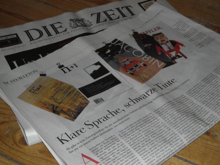 """Oskar Piegsas Artikel """"Klare Sprache, schwarze Tinte"""" Feuilleton der Zeit vom 13. Februar 2013"""